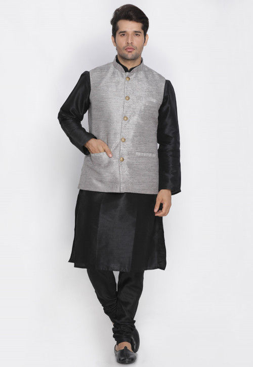 Plain Dupion Silk Kurta Pajama Set in Black