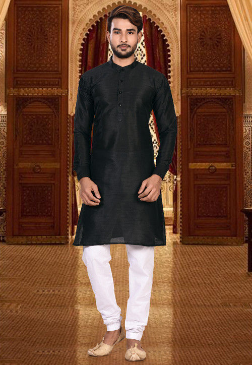 ada2c522f4 Plain Dupion Silk Kurta Pajama Set in Black : MTX385