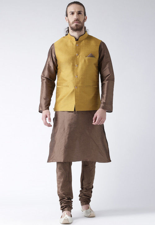 Plain Dupion Silk Kurta Pajama Set in Brown