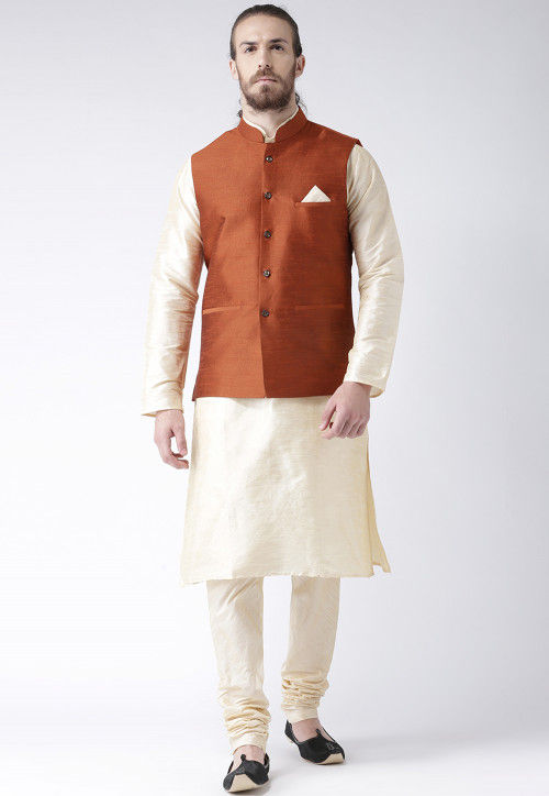 Plain Dupion Silk Kurta Pajama Set in Light Beige