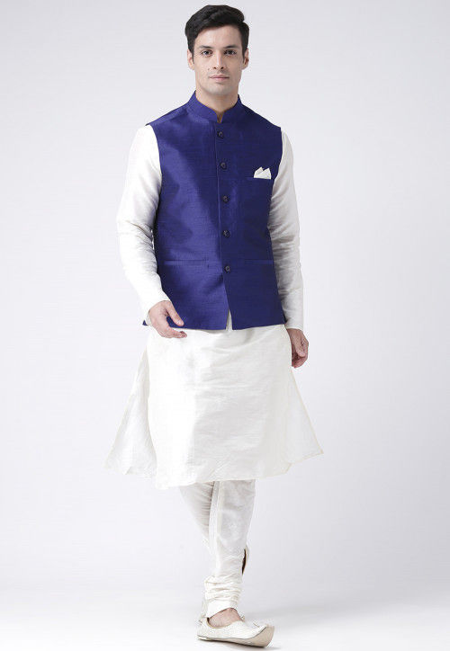 Plain Dupion Silk Kurta Pajama Set in Off White