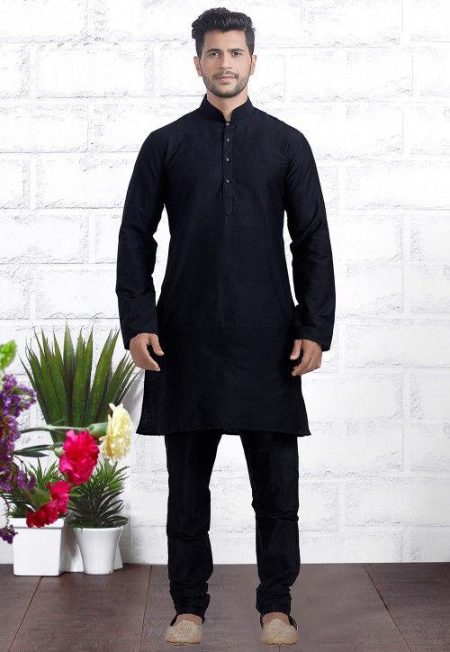 Plain Dupion Silk Kurta Set in Black