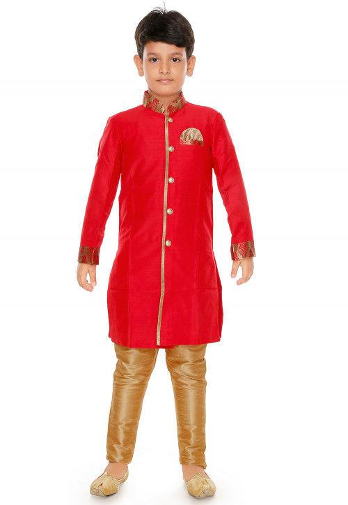 Plain Dupion Silk Kurta Set in Red