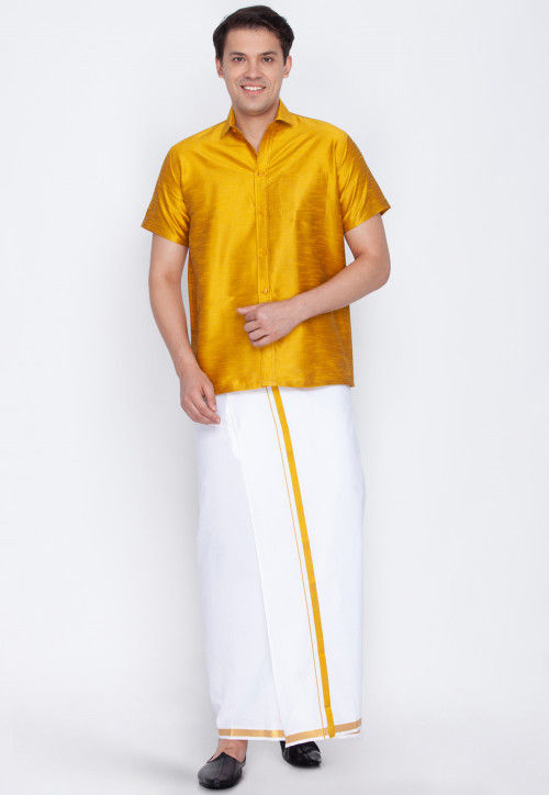 Plain Dupion Silk Mundu Shirt Set in Mustard