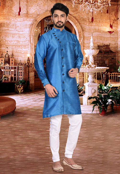 Plain Dupion Silk Sherwani in Blue