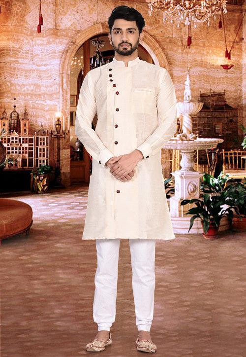 Plain Dupion Silk Sherwani in Cream