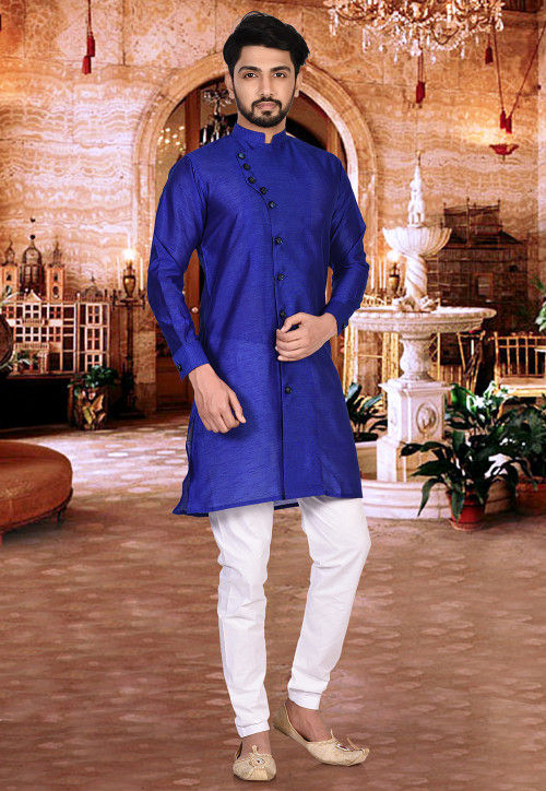 Plain Dupion Silk Sherwani in Royal Blue