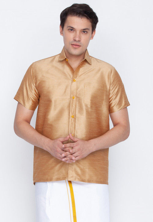 Plain Dupion Silk Shirt in Beige