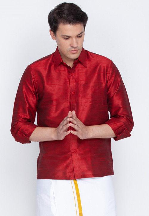 Plain Dupion Silk Shirt in Maroon