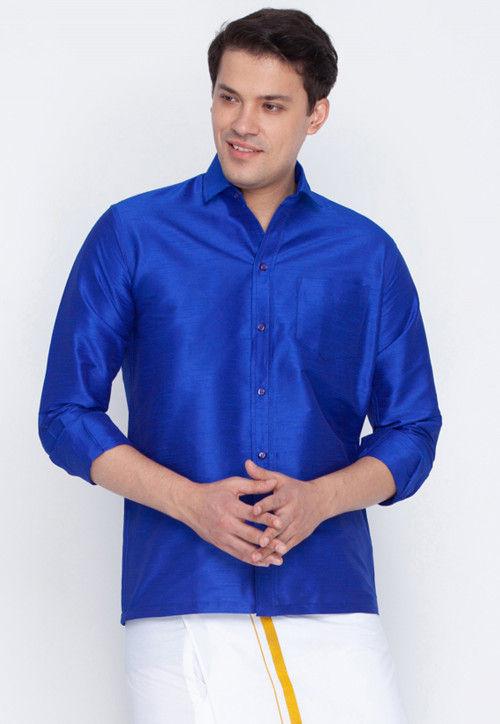 Plain Dupion Silk Shirt in Royal Blue