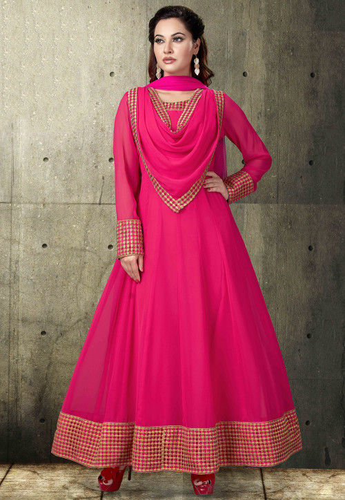 Plain Georgette Abaya Style Suit in Fuchsia