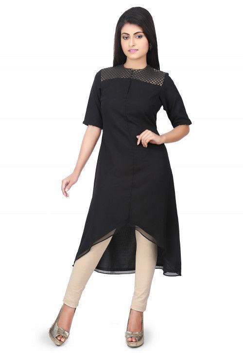 Plain Georgette Asymmetric Kurta in Black