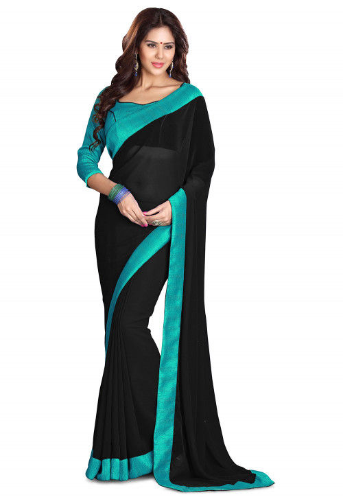 Contrast Border Georgette Saree in Black