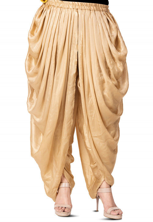 Plain Georgette Shimmer Dhoti Style Patiala in Golden