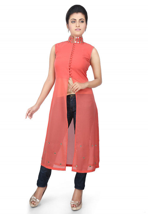 Plain Georgette Tunic in Coral Pink