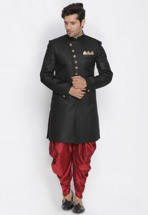 Plain Jute Cotton Sherwani in Black