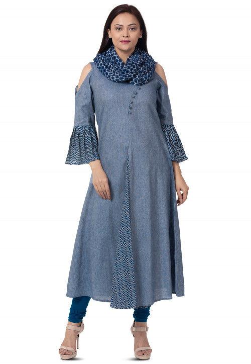 Plain Linen Cotton A Line Suit in Light Blue