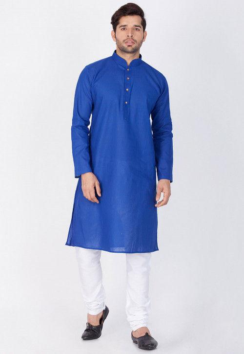 Plain Linen Kurta Set in Royal Blue