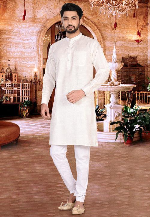 Plain Matka Silk Kurta Set in Off White