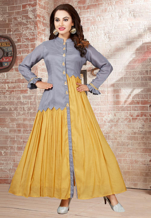 Plain Muslin Silk Flared Gown in Grey and Mustard