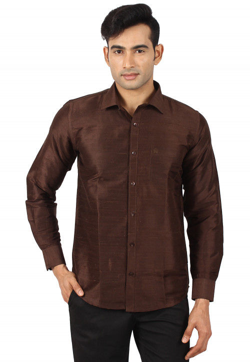 Plain Pure Dupion Silk Shirt in Brown