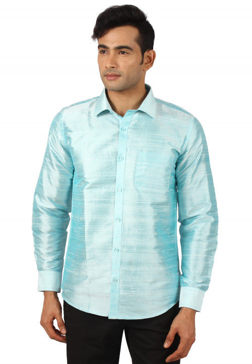 Plain Pure Dupion Silk Shirt in Light Blue