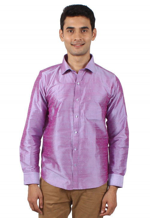 Plain Pure Dupion Silk Shirt in Light Violet