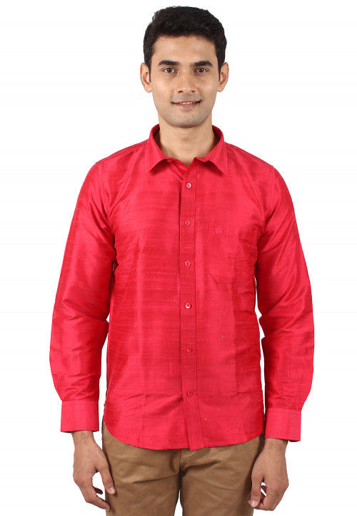 Plain Pure Dupion Silk Shirt in Red
