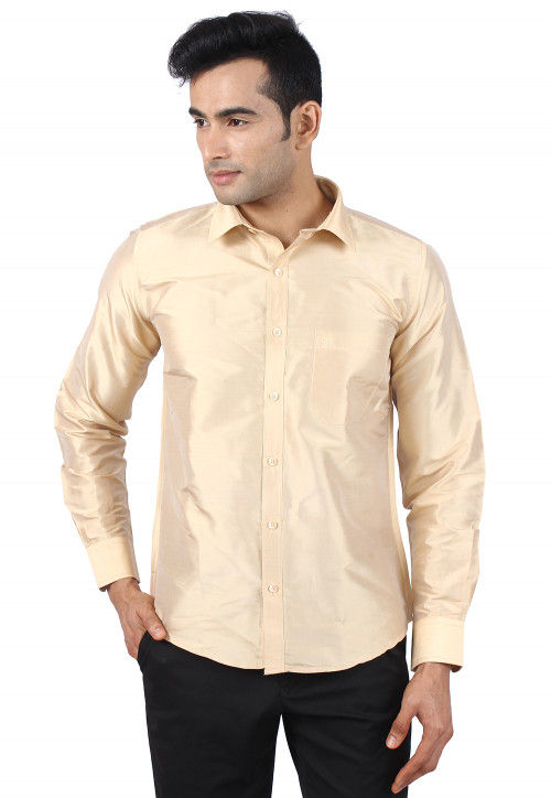 Plain Raw Silk Shirt in Beige