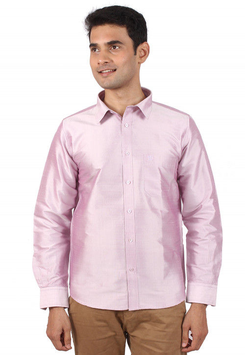 Plain Raw Silk Shirt in Light Pink