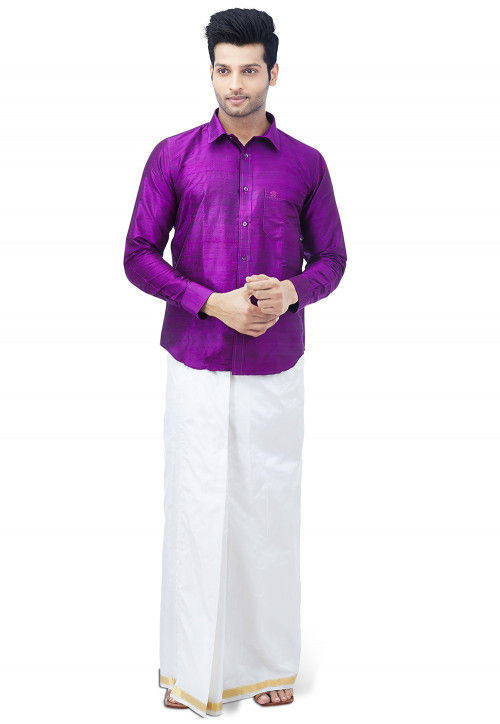 Plain Pure Silk Dhoti with Shirt in Purple