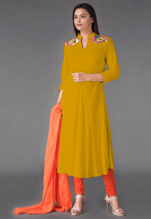 Plain Rayon Anarkali Suit in Pastel Yellow