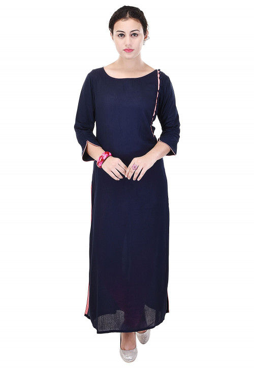 Plain Rayon Cotton Straight Kurta in Navy Blue