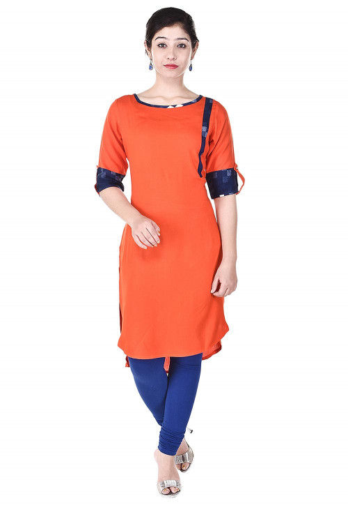 Plain Rayon High Low Kurta in Orange