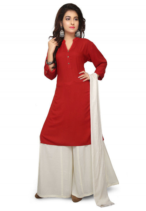 Plain Rayon Pakistani Suit in Red