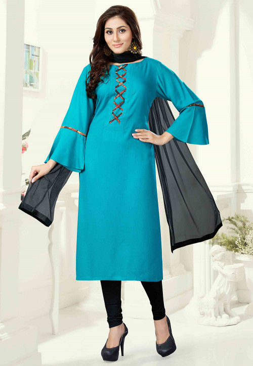 Plain Rayon Straight Suit in Teal Blue