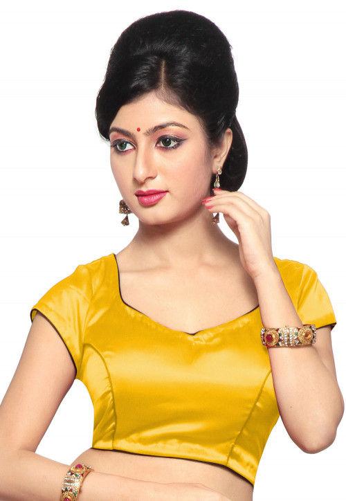 Plain Satin Blouse in Yellow