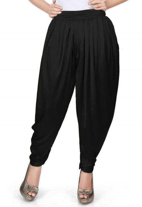 Plain Satin Dhoti Pant in Black