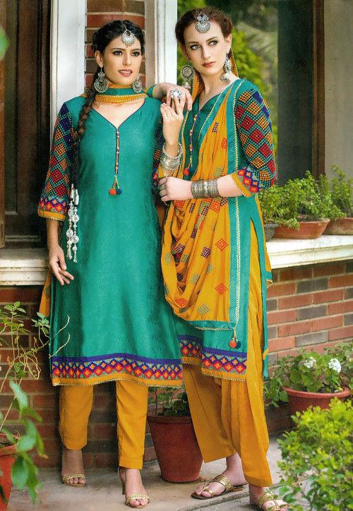 Plain Satin Jacquard Punjabi Suit in Teal Green
