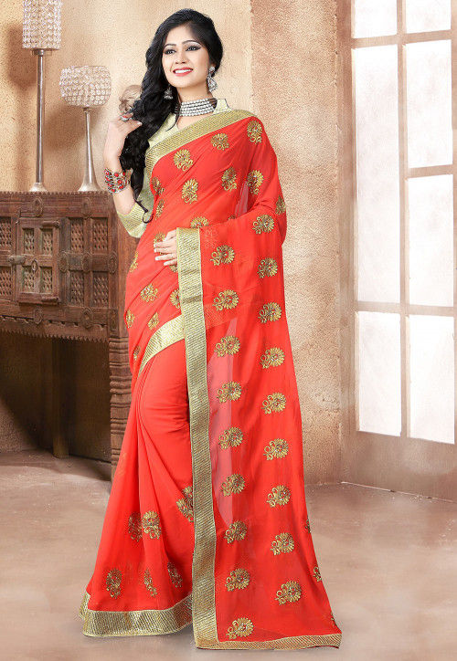 Pre-stitched Embroidered Georgette Saree in Coral Red