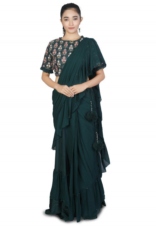 Pre-stitched Georgette Saree in Dark Green