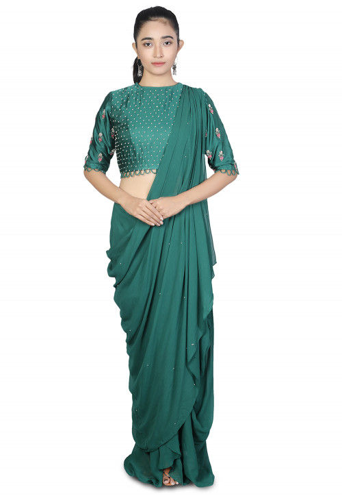 Pre-stitched Georgette Saree in Teal Green