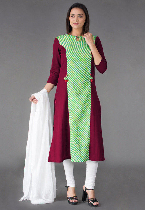 Princess Cut Cotton Straight Suit in Magenta and Green