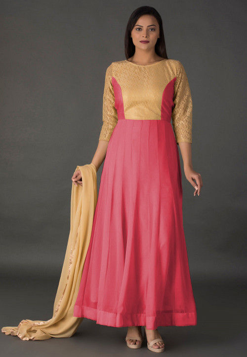 Princess Cut Georgette Abaya Style Suit in Coral Pink and Beige