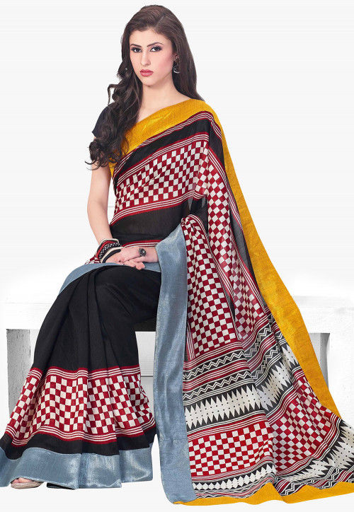 Printed Art Silk Saree in Black