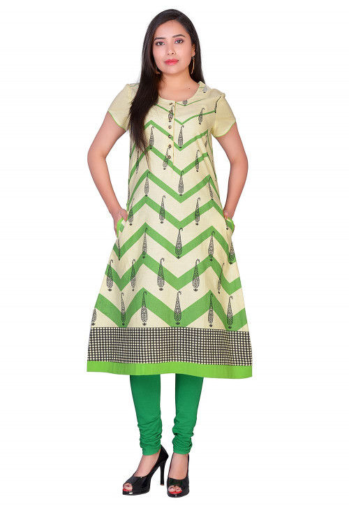 Printed Cotton A Line Kurta in Beige and Green