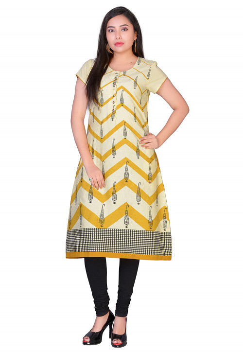 Printed Cotton A Line Kurta in Beige and Yellow