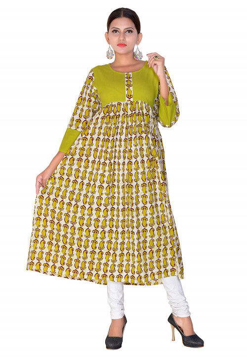 Printed Cotton A Line Kurta in Green and Off White