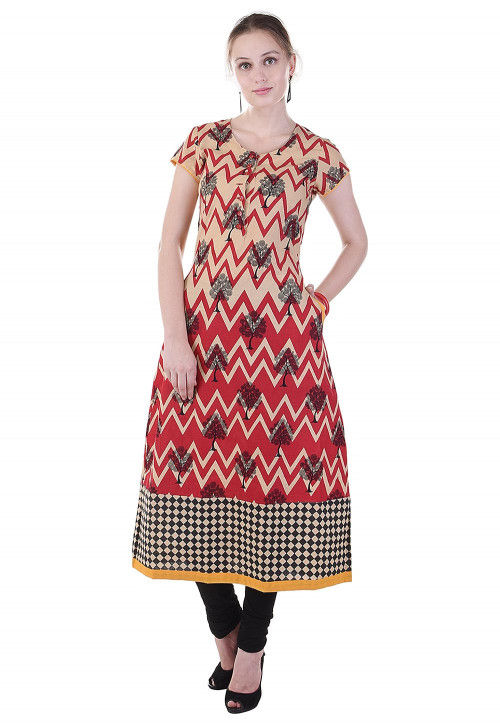 Printed Cotton A Line Kurta in Red and Beige