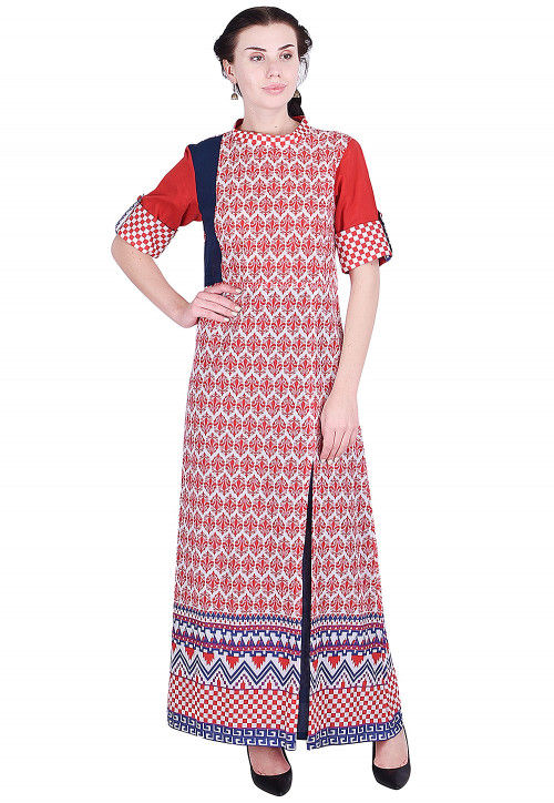 Printed Cotton Abaya Style Kurta in Red and White